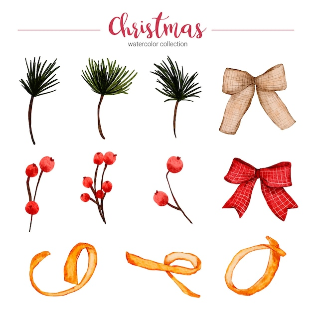 Collection of watercolor illustration of christmas decorations Free Vector