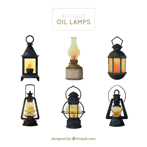 Collection of watercolor oil lamps Premium Vector