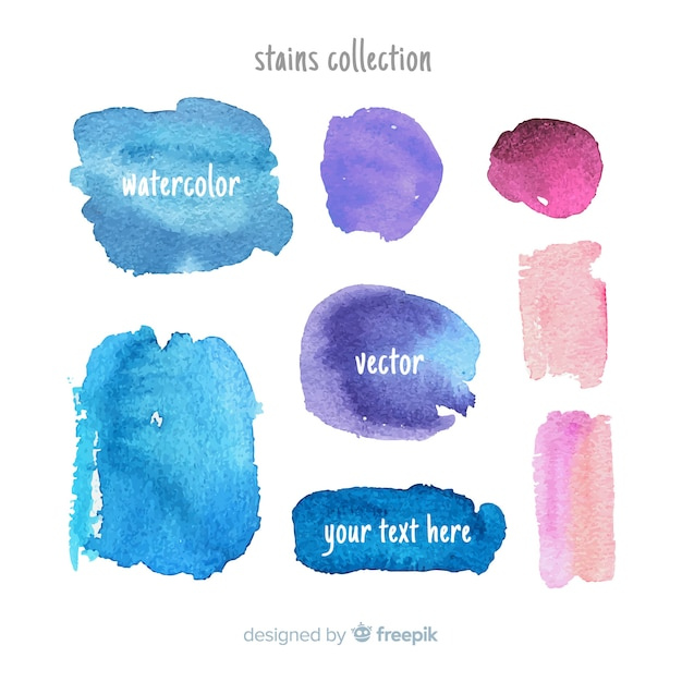 Collection of watercolor stains and brush strokes Free Vector