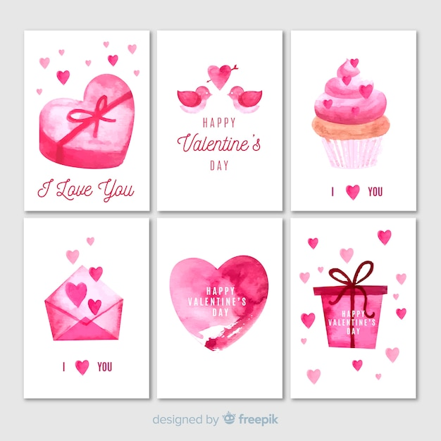 collection of watercolor valentine cards  free vector