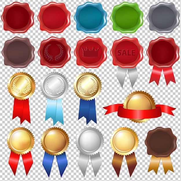 Collection wax seal and award ribbons Premium Vector