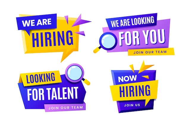 Collection of we are hiring banners with geometrical shapes Free Vector