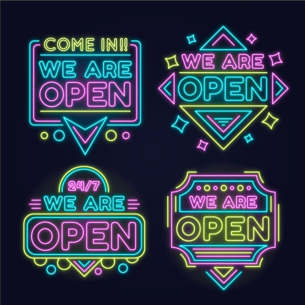 Collection of we are open neon signs Free Vector
