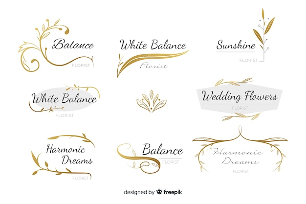 Collection of wedding florist logos Free Vector