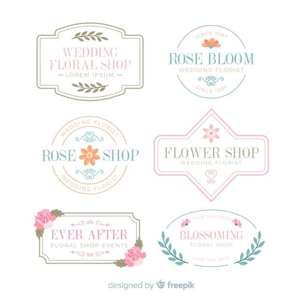 Collection of wedding florist logos Free Vector