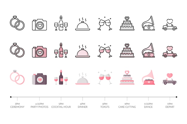 Collection of wedding icon Free Vector