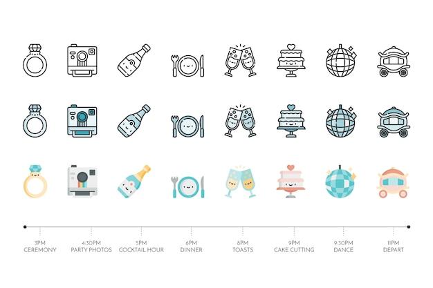 Collection of wedding icon Premium Vector