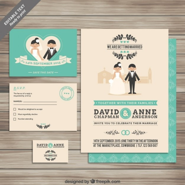 Collection of wedding invitations Free Vector