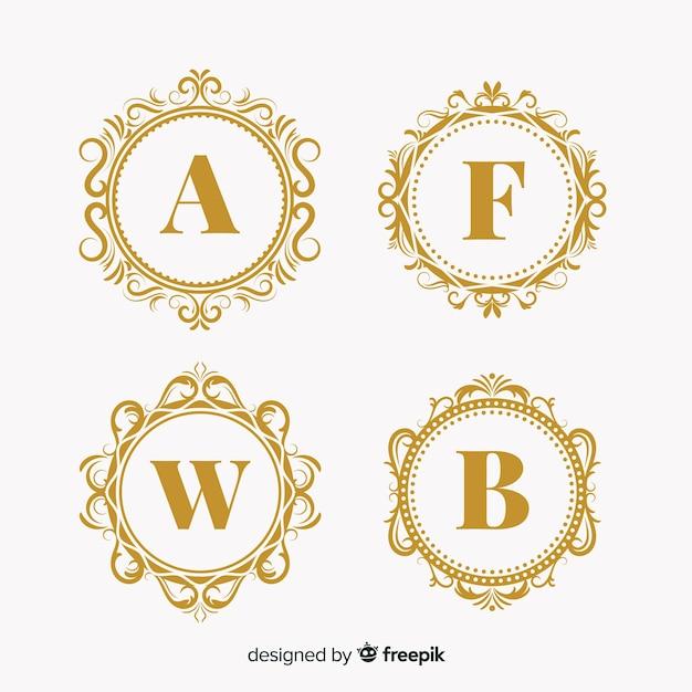 Collection of wedding monogram logos Premium Vector
