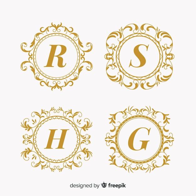 Collection of wedding monogram logos Free Vector
