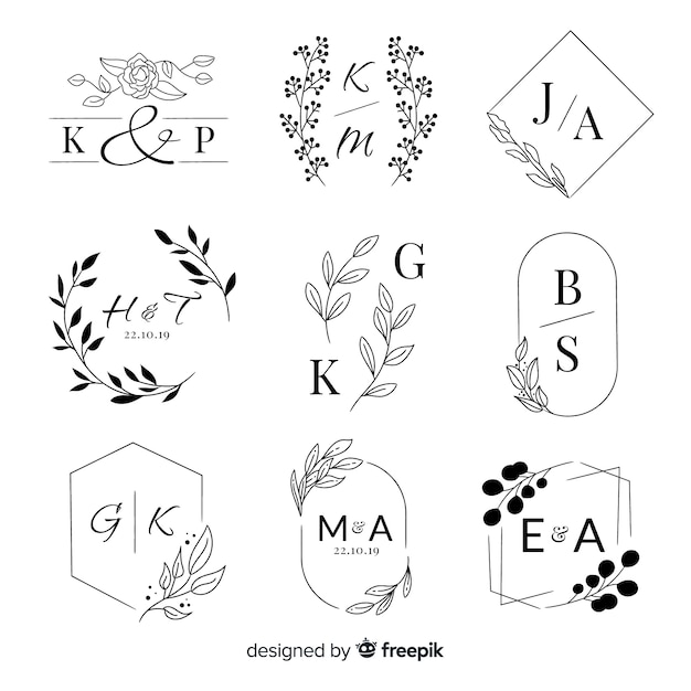 Collection of wedding monogram logos Free Vector