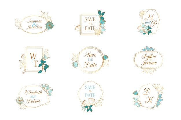 Collection of wedding monograms Free Vector