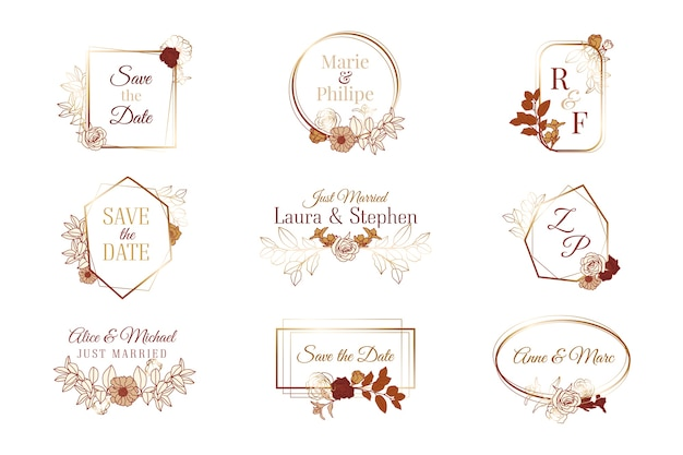 Collection of wedding monograms Free Vector