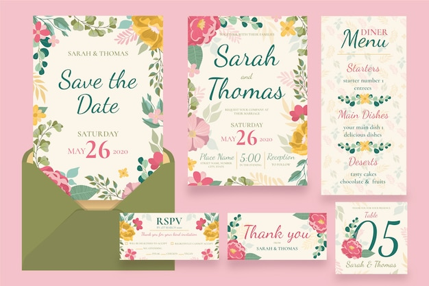Collection of wedding stationery Free Vector