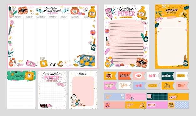 Collection of weekly or daily planner, note paper, to do list, stickers templates decorated by cute beauty cosmetic illustrations and trendy lettering. trendy scheduler or organizer. flat Premium Vector