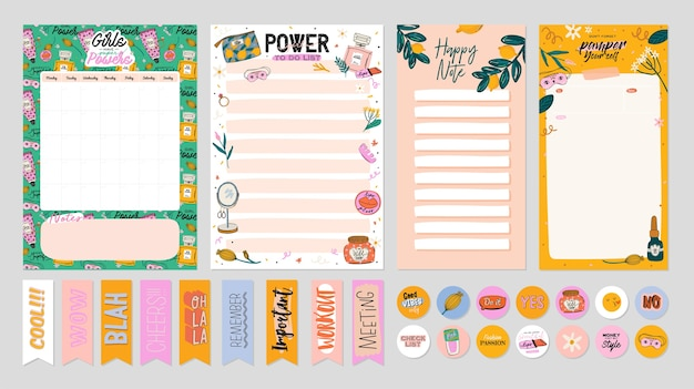 Collection of weekly or daily planner, note paper, to do list, stickers templates decorated by cute beauty cosmetic illustrations and trendy lettering. trendy scheduler or organizer Premium Vector