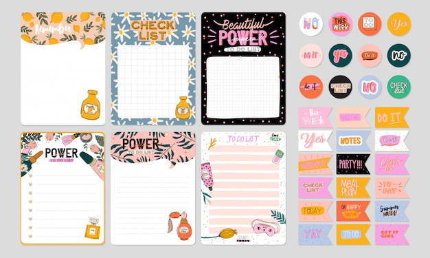 Collection of weekly or daily planner, note paper, to do list, stickers templates decorated by cute beauty cosmetic illustrations and trendy lettering. trendy scheduler or organizer. Premium Vector