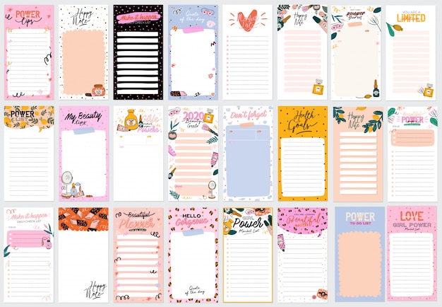 Collection of weekly or daily planner, note paper, to do list, stickers templates decorated by cute beauty cosmetic illustrations and trendy lettering. Premium Vector