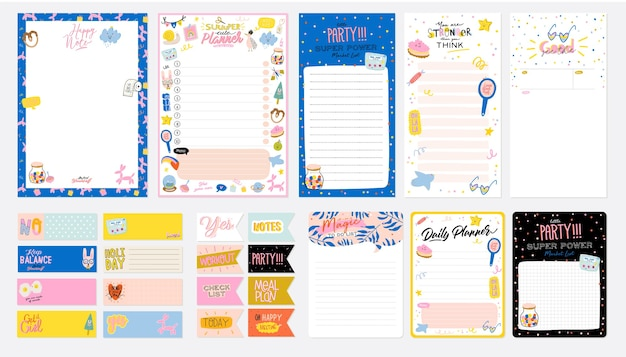 Collection of weekly or daily planner, note paper, to do list, stickers templates decorated by cute kids illustrations and inspirational quote. school scheduler and organizer. flat Premium Vector