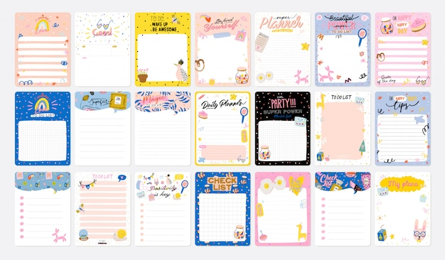 Collection of weekly or daily planner, note paper, to do list, stickers templates decorated by cute kids illustrations and inspirational quote. school scheduler and organizer. Premium Vector