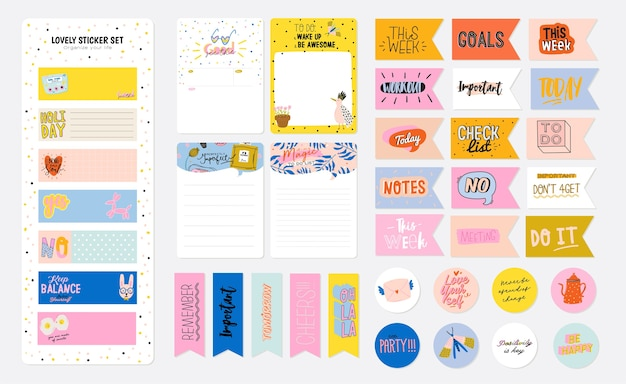 Collection of weekly or daily planner, note paper, to do list, stickers templates decorated by cute kids illustrations and inspirational quote. school scheduler and organizer Premium Vector