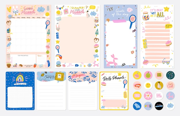 Collection of weekly or daily planner, note paper, to do list, stickers templates decorated by cute kids illustrations and inspirational quote. Premium Vector
