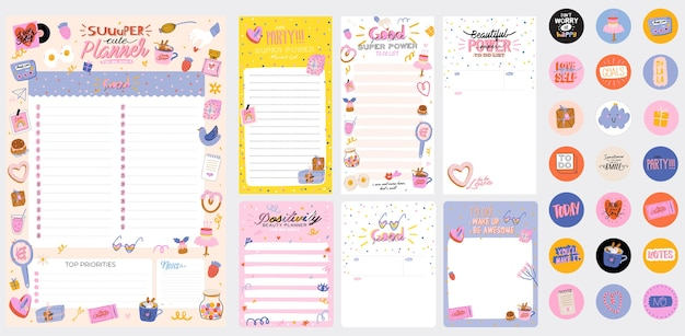 Collection of weekly or daily planner, note paper, to do list, stickers templates decorated by cute love illustrations and inspirational quote. school scheduler and organizer. flat Premium Vector