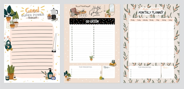 Collection of weekly or daily planner, note paper, to do list, stickers templates decorated with home interior decor illustrations and inspirational quote. school scheduler and organizer. flat Premium Vector