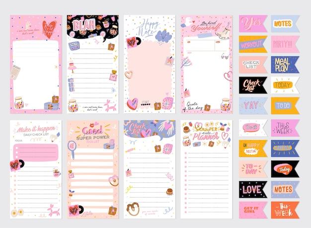 Коллекция еженедельного или ежедневного планировщика, бумага для заметок, список дел, шаблоны наклеек, украшенные милой любовью Premium векторы