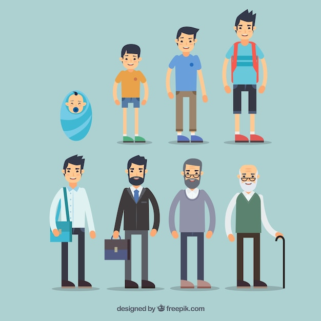 Collection of white men in different ages Free Vector