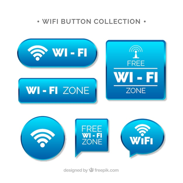 Collection of wifi buttons in realistic design Vector | Free Download