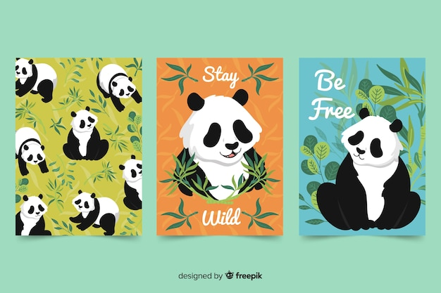 Collection of wild animal cards Free Vector