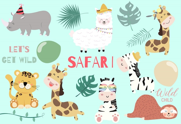 Collection of wild animal set with giraffe,tiger,zebra,sloth,llama Premium Vector