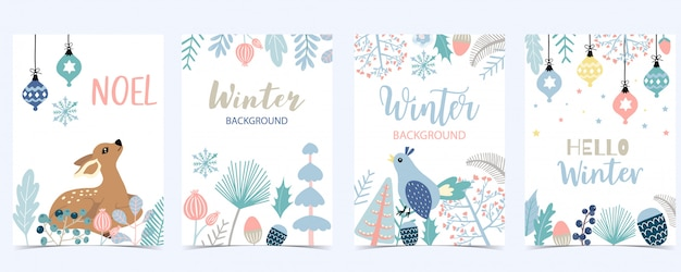Collection of winter background set with leaves Premium Vector