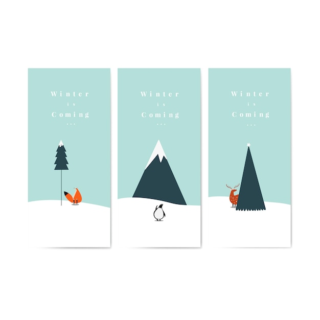 Collection of winter is coming posters vector Free Vector