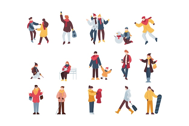 Collection of winter people illustrations Free Vector
