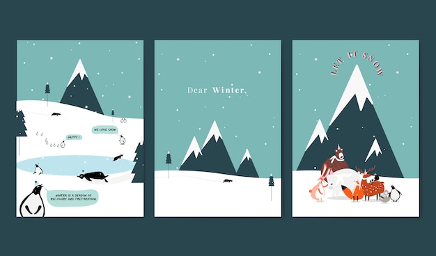 Collection of winter themed postcard design vector Free Vector