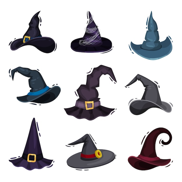 Collection of witch hats on white background. Premium Vector