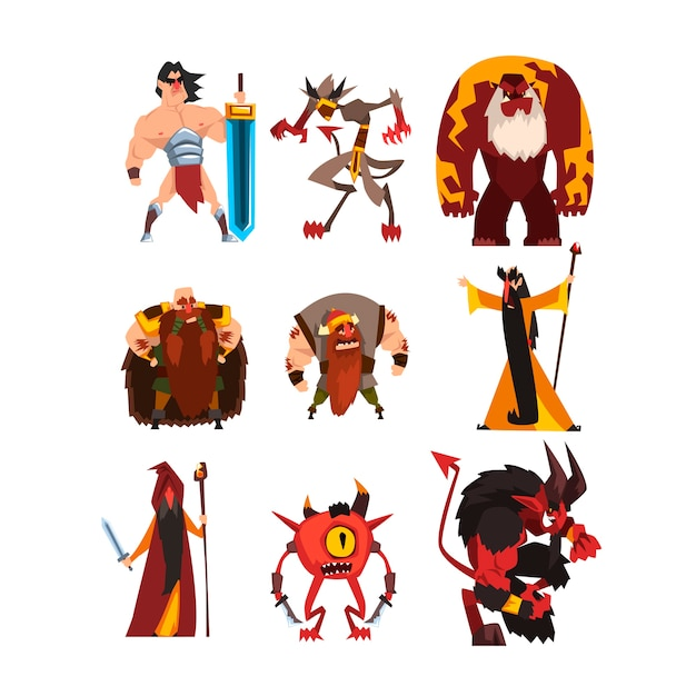 Collection with different fantasy game characters Premium Vector