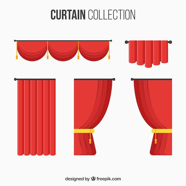 Collection with different types of theater curtains Free Vector