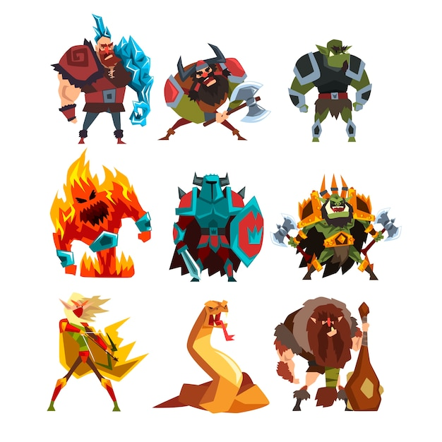 Collection with fantasy creatures and humans Premium Vector