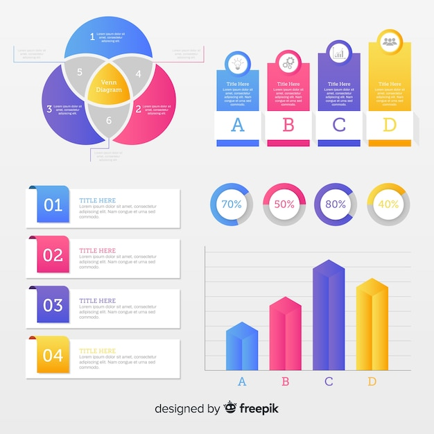 Collection with flat infographic elements Free Vector