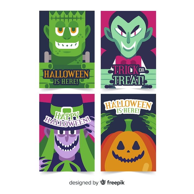 Collection with halloween characters Free Vector