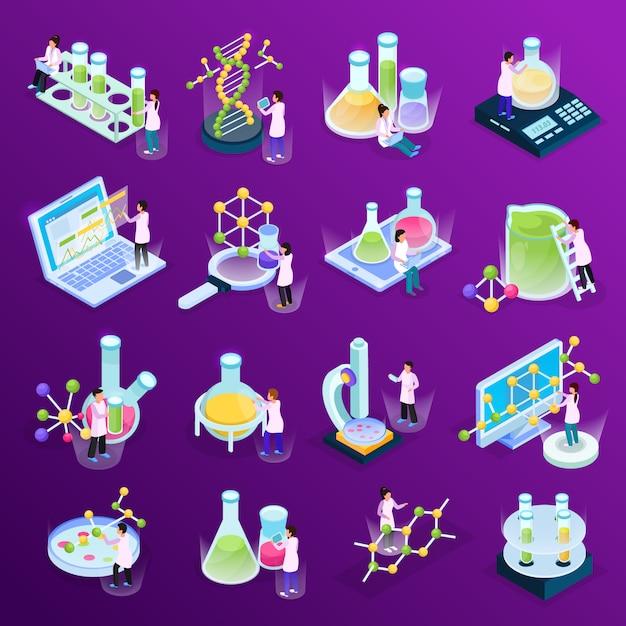 ガラス管コンピューターと分子のカラフルな液体で科学研究等尺性グローアイコンのコレクション 無料ベクター