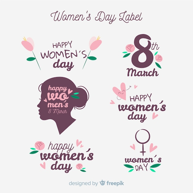 Collection of womans day labels Free Vector