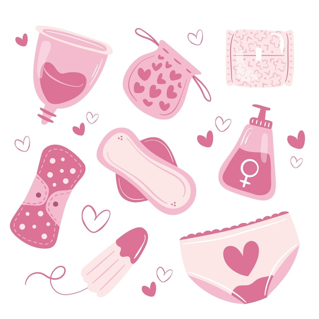 Collezione di prodotti per l'igiene delle donne Vettore gratuito