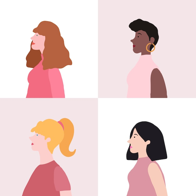 Collection of women in profile vector Free Vector