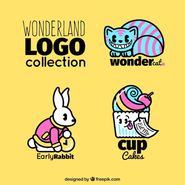 Collection of wonderland logos Free Vector