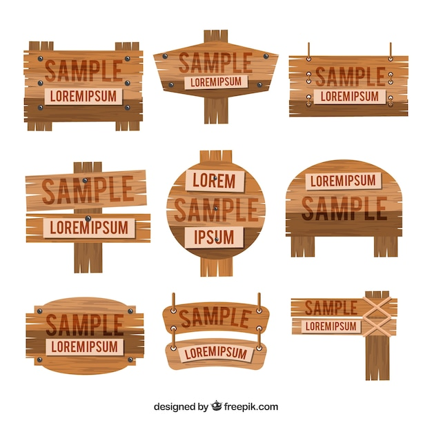 Collection of wood sign in flat design Free Vector
