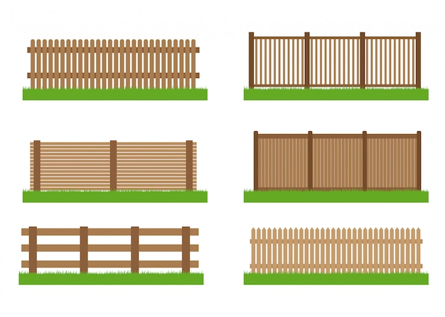 Collection of wooden fence  set Premium Vector